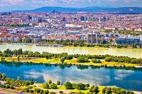 Dandube river and Vienna cityscape view
