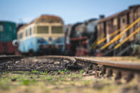 Rail tracks and old disused locomotives