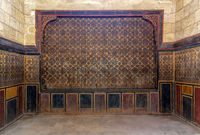 Background of old wooden wall decorated with colorful painted floral patterns, Cairo, Egypt