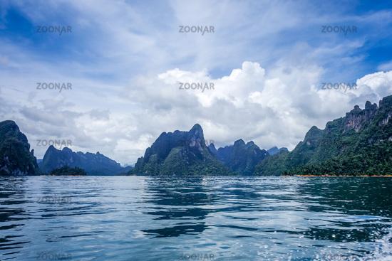 Cheow Lan Lake cliffs, Khao Sok National Park, Thailand