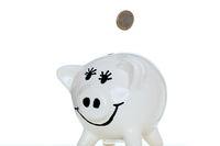 lachendes Sparschwein mit Münze