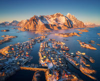 Aerial view of Henningsvaer at sunset in Lofoten islands, Norway