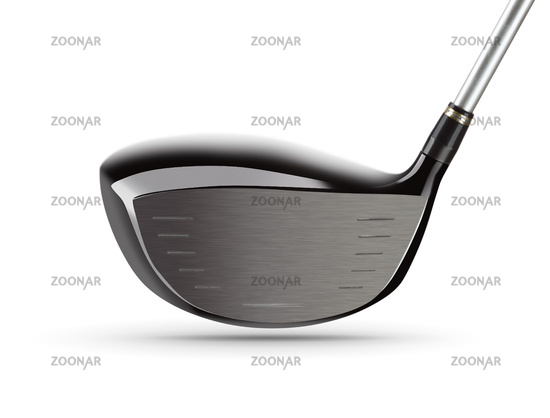 Face of Large Driver Golf Club on White Background