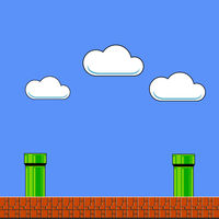 Old Game Background. Classic Arcade Design with Pipe and Brick