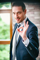 Handsome businessman shows an ok gesture. Portrait