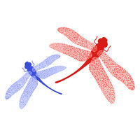 Colored Stilized Dragonfly. Insect Logo Design. Aeschna Viridls