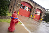 Brick Building Red Garage Doors Local Fire Department Station