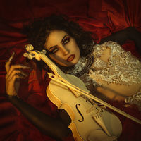 white violin vampire, demonic woman dressed in white lace and silver jewelry. has fangs and thick brown hair