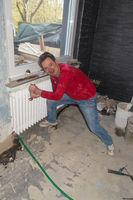 Dismantling of an old central heating