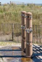 Outdoor beach showers in Atlantic City on New Jersey coastline