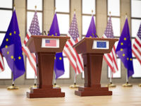 Flags of the USA and European Union EU and tribunes at international meeting or conference. Relationship between EU and USA concept. 3d illustration