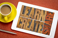 learn, create and share word abstract on tablet