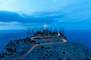 Mallorca Cap Formentor Abend Nacht Leuchtturm Meer Textfreiraum Reise Reisen Spanien