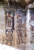 Der Sündenfall,Fresko im Innern der Felsenkirche Debre Maryam Qorqor, Gheralta, Tigray, Äthiopien