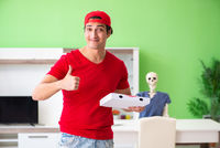 Concept of very slow pizza deliver service