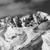 Black and white winter high mountains