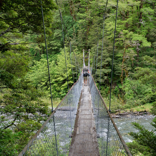 Cannibal Gorge swing bridge, St James Walkway, New Zealand.