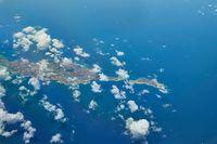 Anguilla Caribbean island seen frome airplane window