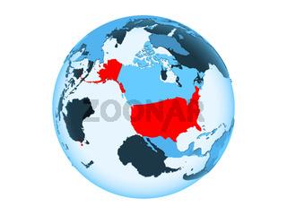 USA on blue globe isolated