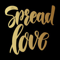 Spread love. Lettering phrase on dark background. Design element for poster