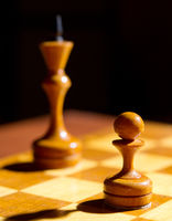 Chess pieces on playing board