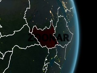 Orbit view of South Sudan at night