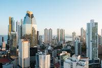 modern skyscraper skyline aerial of Panama City downtown