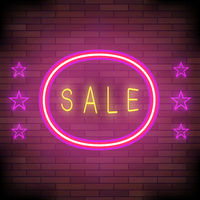 Yellow Neon Sale Sign with Pink Round Frame and Stars