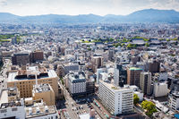 Aerial View over Kyoto Japan