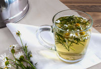 The flowers of the medicinal chamomile a decoction of the flowers