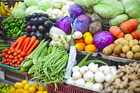 Vegetables and fruits at open air market