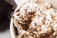 Vanilla ice cream with chocolate chips - straciatella. Fresh, sorbet