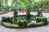 Pond with statue in Sacred Monkey Forest in Ubud