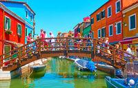 Tourists on the bridge in Burano