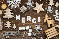 Wooden Christmas Decoration, Merci Means Thank You, Tree And Sled, Snowflakes