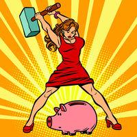 woman breaks piggy Bank. Finance, Economics and consumption