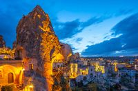 Cappadocia cityscape skyline at night in Goreme, Turkey