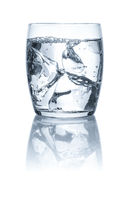 Glass with water and ice cubes