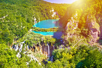 Paradise waterfalls of Plitvice lakes national park at sun haze view