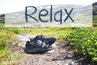 Shoes On Trekking Path, Text Relax