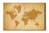 Vintage world map on an old open book