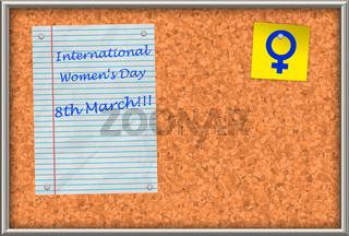 Cork board with text International Women's Day 8th March!!!