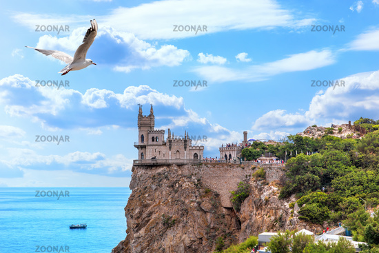 View on the Swallow Nest, famous castle on the rock in Crimea