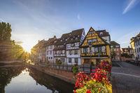 Colmar France, Colorful Half Timber House sunrise city skyline