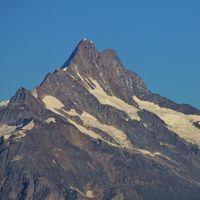 Mount Schreckhorn seen from Mount Niederhorn. Mountain in the Bernese Oberland, Switzerland.