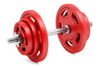 red dumbbell isolated on white background