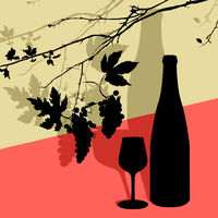 Vine leaves, wineglass and bottle