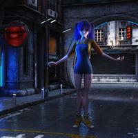 3D Illustration of a futuristic urban Scene with Manga Girl