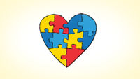 heart made of an animated puzzle, ideal for themes concerning the theme of autism