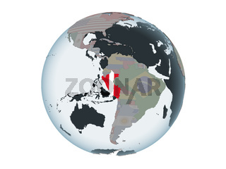 Peru with flag on globe isolated